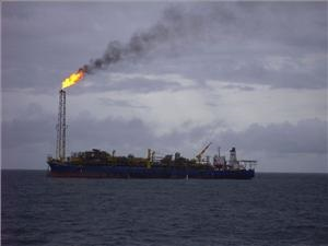 Flare gas stack on FPSO vessel